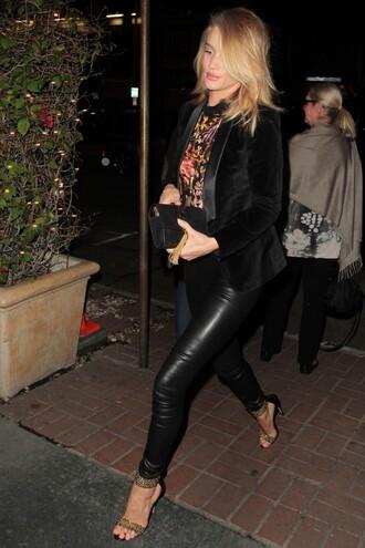 blouse jacket sandals rosie huntington-whiteley pants leather pants