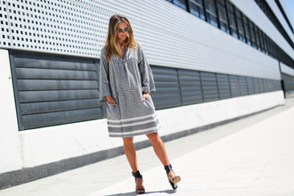 clochet blogger dress shoes bag sunglasses grey dress long sleeves striped dress lace up bell sleeves
