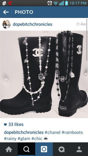 shoes chanel chanel boots chanel rain boots black boots