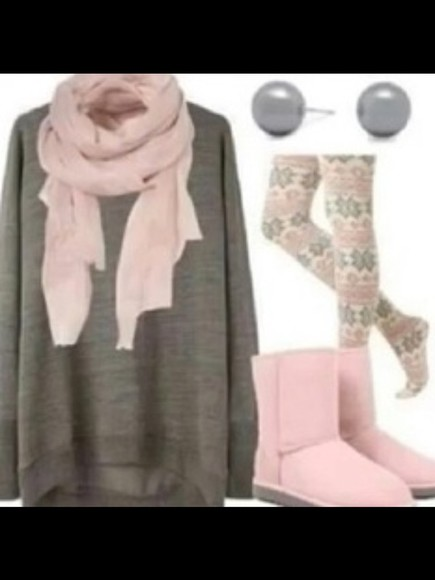 stud boots sweater leggings gey azte aztec leggings earr uugs scarf