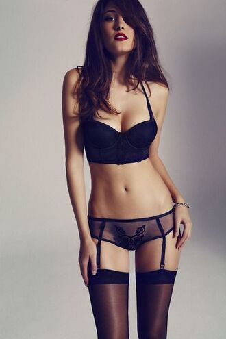 underwear lingerie sheer undies bra panties lace lingerie set black underwear sexy lingerie sexy stockings garter belt top