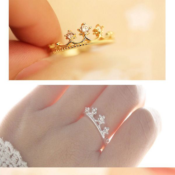 Wholesale Price Elegant Crown Finger Ring for Women Girl Gold Silver