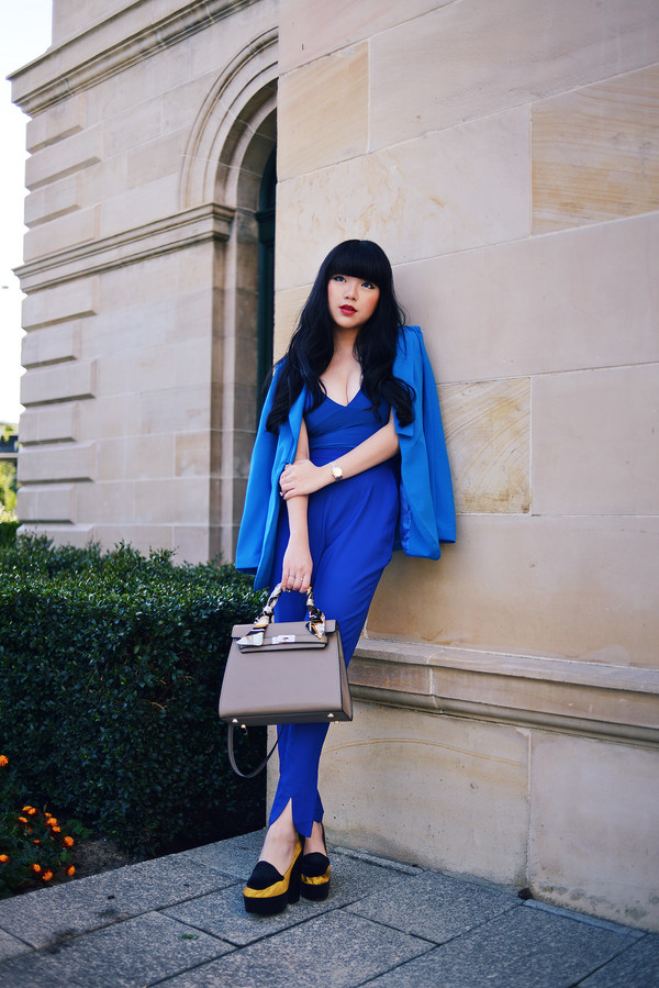 pale division shoes jumpsuit blue blogger fashion style royal blue