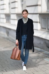 scarf,silk scarf,top,black top,coat,black coat,blue jeans,white sneakers,bag,brown bag,jeans,denim,sneakers