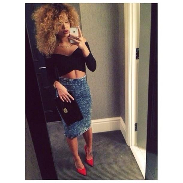 Skirt bodycon denim clubwear clubwear bodycon skirt denim skirt top jeans jean skirt ...