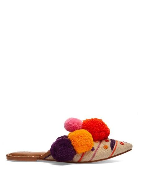 Figue embellished leather orange shoes