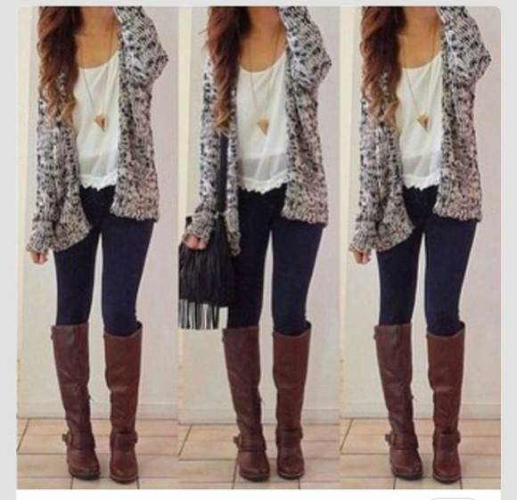 bag pants cardigan shirt boots necklace sweater blouse jewels