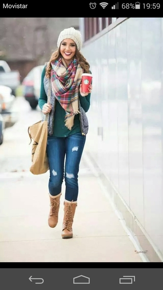 jacket hat shoes sweater scarf