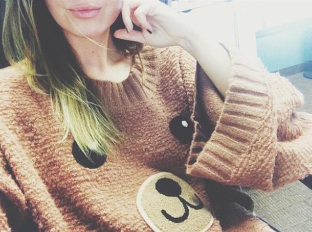 sweater pullover bear brown cute bear