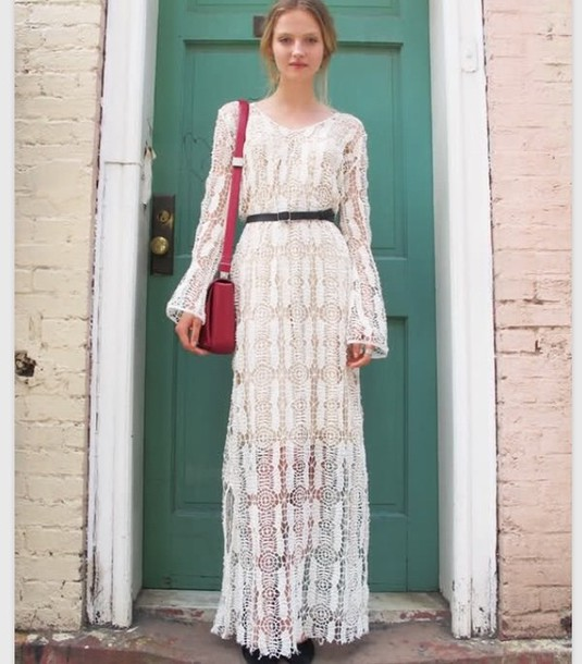2b2b668b50b dress boho bohemian maxi dress white white dress lace lace dress