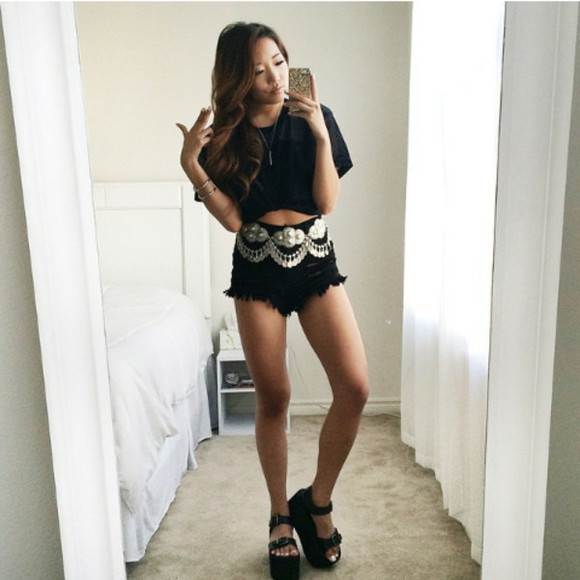 Belt shoes top blouse cool girl style lovely need a tip