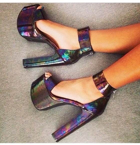 metallic shoes holographic shoes high heels strappy heels platform shoes high heel platform high heels high heels black high heels colorful heels clubwear party pool