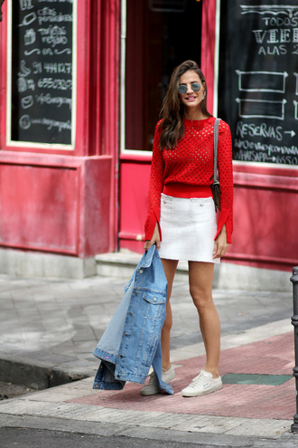 skirt red top white skirt top shoes denim sneakers jacket sunglasses bag