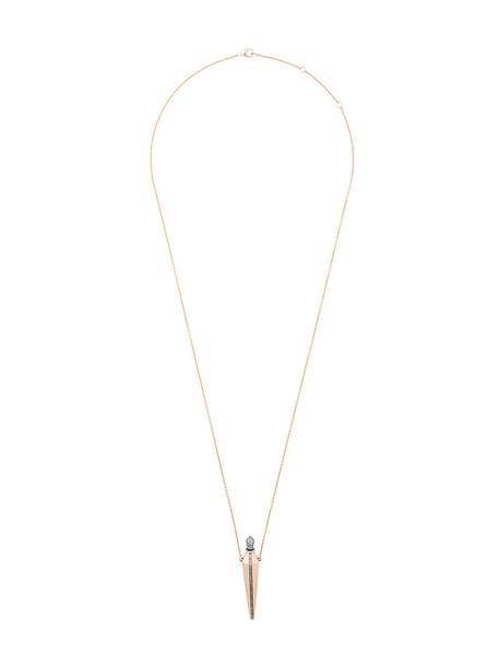 Diane Kordas rose gold rose women necklace gold grey metallic jewels