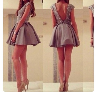 dress grey fit and flare glittery top open back