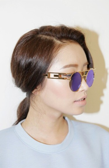 sunglasses gold vintage retro sunglasses purple frame round sunglasses