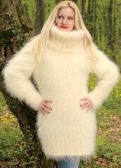 sweater,hand,knit,made,mohair,dress,turtleneck,supertanya,soft,fluffy,angora,alpaca,wool,cashmere