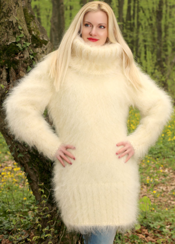 sweater hand knit made mohair dress turtleneck supertanya soft fluffy fluffy angora alpaca wool cashmere
