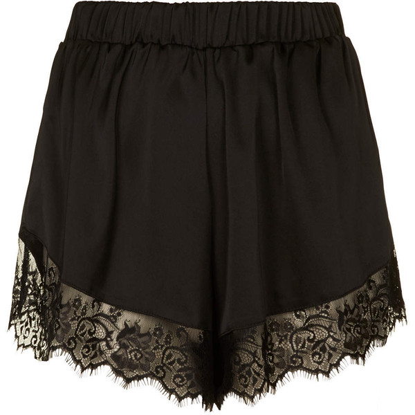 **Satin Shorts with Lace Trim by Oh My Love - Polyvore