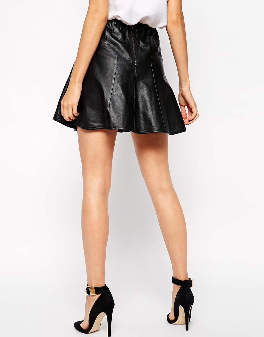 Y.A.S Oracle Skirt in Leather with Flared Hem at asos.com