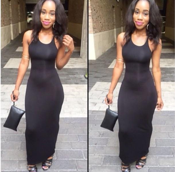 Long black dress style