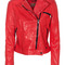 Seven for all mankind motorcycle leat flam red leder-bikerjacke - jacken & mäntel