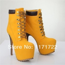 Online Shop Thick platform women lace up motorcycle boots sexy 16CM high heel ankle boots tan suede rivet stiletto boots big size 10|Aliexpress Mobile