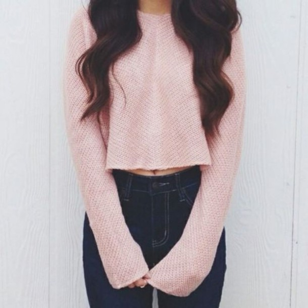 jeans sweater dusty pink cropped sweater t-shirt pink cropped long sleeves kling coat high waisted jeans sweater crop top high waste navy skinny top cute light pink shirt pink crop sweater blouse pink sweater fuzzy sweater knitted sweater pink shirt style two colour cardigan tumblr clothes dress white dress cocktail dress