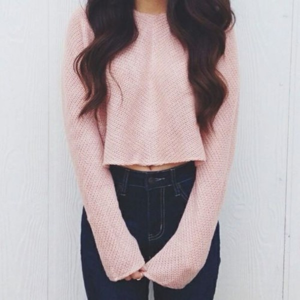 jeans sweater dusty pink cropped sweater t-shirt pink cropped long sleeves kling coat high waisted jeans sweater crop top high waste navy skinny top cute light pink shirt pink crop sweater blouse pink sweater fuzzy sweater knitted sweater pink shirt style two colour