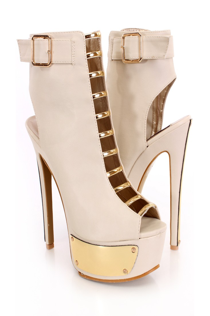 Beige Peep Toe Strappy Cut Out Booties Faux Leather