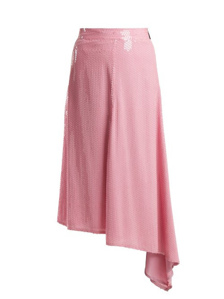 Msgm - Sequin Embellished Asymmetric Midi Skirt - Womens - Pink