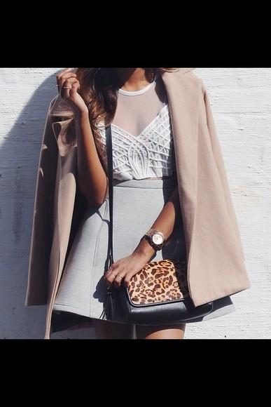 skirt chic top structured skirt grey skater skirt mesh crop tops