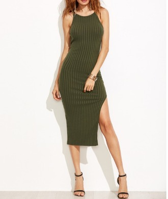 dress girl girly girly wishlist khaki bodycon bodycon dress midi dress knit olive green side split slit dress