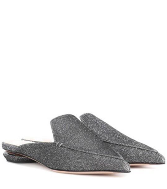 Nicholas Kirkwood metallic mules grey shoes