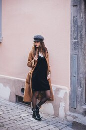 to bruck ave,blogger,jewels,coat,bag,dress,shoes,hat,winter outfits,winter coat,boots