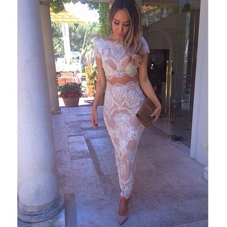 dress nude skirt too 2 set two-piece crop tops lace gorgeous 2 sets