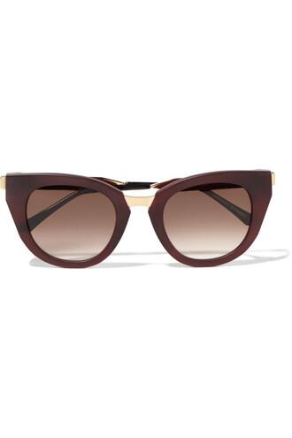 matte sunglasses gold burgundy