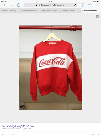 sweater red cool printed sweater coca cola vintage white cute yes