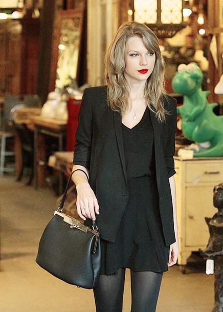 dress taylor swift black coat bag all black everything make-up