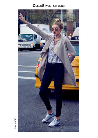 cardigan celebstyle for less grey aviator sunglasses striped shirt skinny jeans jeans gigi hadid sneakers celebrity cool girl style shirt shoes sunglasses blonde hair model streetstyle bun red lime sunday