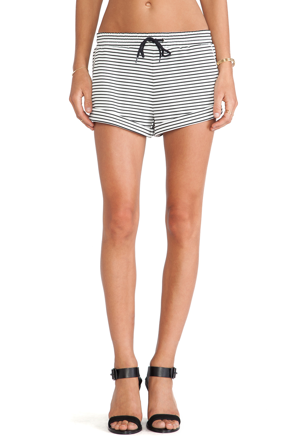 The fifth label breeze block shorts in white & black stripe from revolveclothing.com