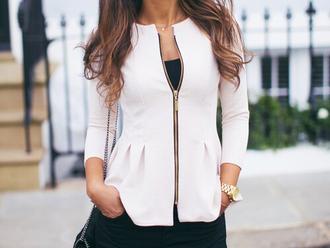 jacket fitted jacket cream white