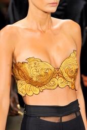 tank top,shirt,top,crop,t-shirt,underwear,gold,bra,design
