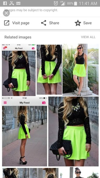 skirt neon yellow skater skirt