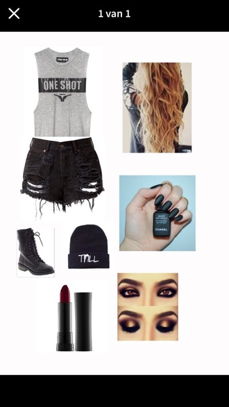 shorts black grey boots hat beanie muscle tee shoes skirt shirt
