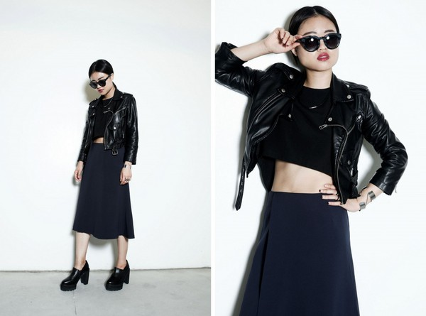 la vagabonde dame blogger sunglasses jacket skirt shoes
