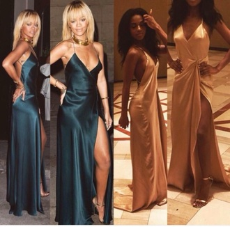 dress rihanna gold green dress