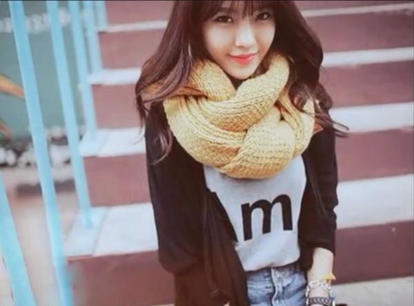 scarf ulzzang knitted scarf lemongrass