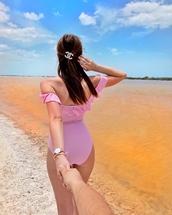 swimwear,tumblr,one piece swimsuit,off the shoulder,off the shoulder swimsuit,pink swimwear