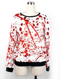 Unique Comfortable Sweaters Blood Printed Women Men White Hoodies CH-10149